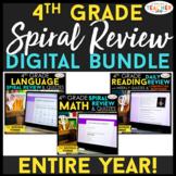 4th Grade DIGITAL Spiral Review & Quiz BUNDLE   Google Classroom