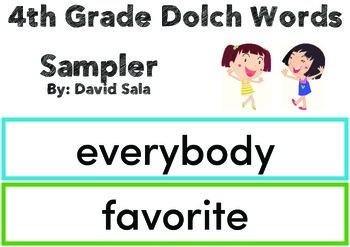 4th Grade DOLCH WORDS Sampler