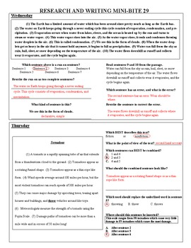 4th Grade Daily ELA Review - Research and Writing Mini Bites Weeks 1 to 32