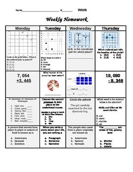 4th Grade Daily Homework - 6 weeks