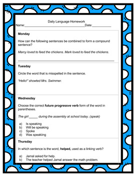 4th Grade Daily Language Spiral Review Homework- 2nd  quarter