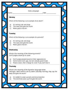 4th Grade Daily Language Spiral Review Homework- 3rd quarter