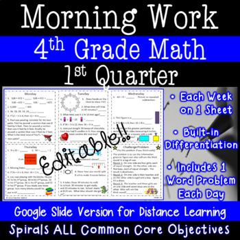 4th Grade Daily Math Morning Work - 1st Quarter