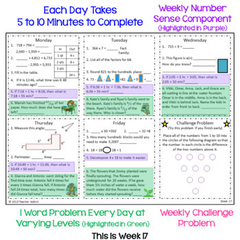 Math Morning Work for 4th Grade - 1st and 2nd quarter