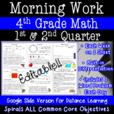 Math Morning Work for 4th Grade - 1st and 2nd quarter (Distance Learning option)