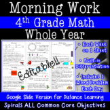 4th Grade Math Morning Work - Distance Learning - Google C