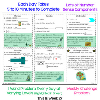4th Grade Math Morning Work - Two FREE Weeks by Teacher Addict | TpT