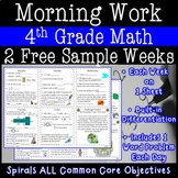 4th Grade Math Morning Work - Two FREE Weeks