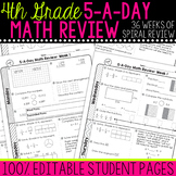 4th Grade Daily Math Spiral Review  Morning Work Editable