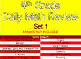 4th Grade Daily Math Review Set 1 - 10 Worksheets Included