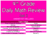 4th Grade Daily Math Review Set 2 - 10 Worksheets Included