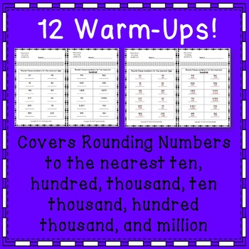 4th Grade Daily Math Review or Warm Ups Place Value Rounding Numbers