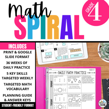 4th Grade Math Spiral Review - Morning Work aligned with Core Standards & TEKS