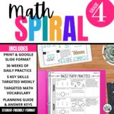 4th Grade Math Spiral Review PRINT & DIGITAL   Full Year