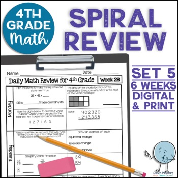 4th Grade Morning Work | 4th Grade Spiral Math Review | Set 5 (6 weeks)