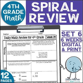 4th Grade Morning Work | 4th Grade Spiral Math Review | Set 6 (6 weeks)