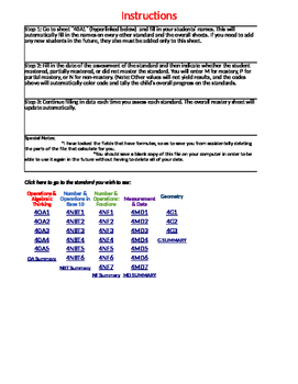 4th Grade Daily Math Standards Mastery Checklist - Common Core