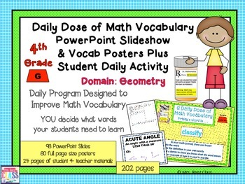Geometry Word Wall Posters & PowerPoint Slideshow (4th Grade)
