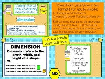 Measurement & Data Word Wall Posters Plus PPT Slideshow (4th Grade)