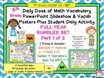 Algebra & Numbers in Base Ten Word Wall Posters & PPT Slides 4th Gr Part 1 of 2