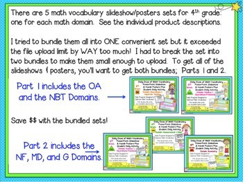 Math Word Wall Posters (4th Grade) ALGEBRA, NUMBERS in BASE 10  Set 1 of 2