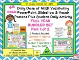 Math Word Wall Posters (4th Grade) ALGEBRA, NUMBERS in BAS