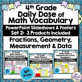 Fractions & Measurement & Geometry Word Wall Plus PPT Slideshow 4th Grade Part 2
