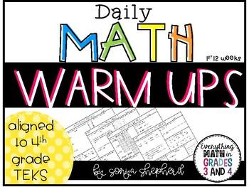 Daily Math Warm-Ups  - 4th Grade (12 weeks)
