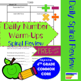 4th Grade Daily Number Warm Ups Spiral Review: SAMPLE