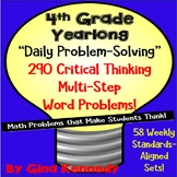 4th Grade Daily Math Problem Solving, 290 Yearlong Multi-Step Word Problems