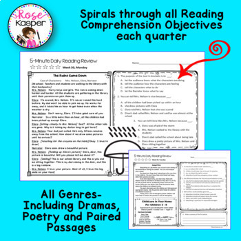 4th Grade Daily Reading Comprehension Review - Fourth Quarter