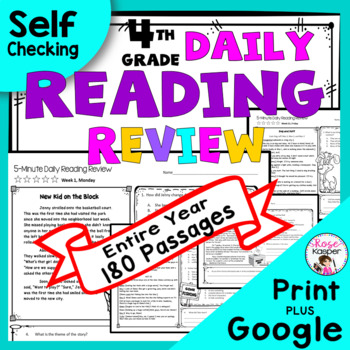 4th Grade Daily Reading Comprehension Spiral Reading Review - Growing Bundle