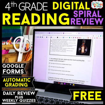 4th Grade DIGITAL Reading Comprehension Practice Spiral Review Distance Learning