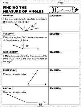 4th Grade Spiral Math Review: Week's Worth of Problems for Each Week of the Year