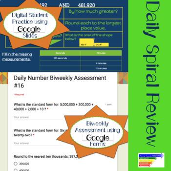 4th Grade Daily Math Warm Ups OR Homework Spiral Review + Digital Version