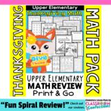 Thanksgiving Math Worksheets: 4th Grade Thanksgiving Math Review