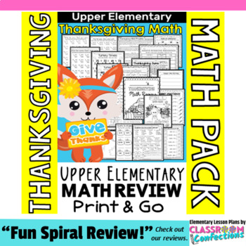Thanksgiving Math Worksheets: 4th Grade Thanksgiving Math Review