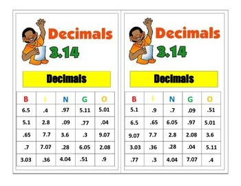 4th Grade Decimal Bingo Game for Common Core