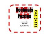 4th Grade Decimal Puzzles for Common Core
