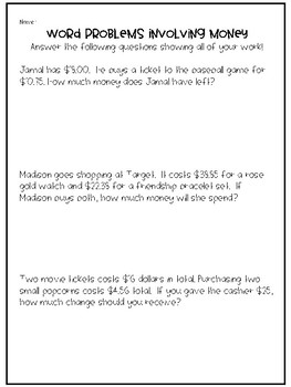 4th grade decimal word problems involving money by whid 39 s. Black Bedroom Furniture Sets. Home Design Ideas