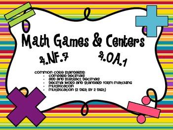 4th Grade Decimal and Multiplication Math Centers