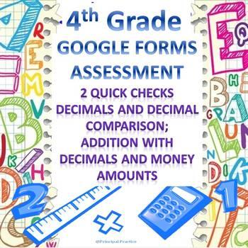4th Grade Decimals Google Forms Assessments 2 Quick Checks