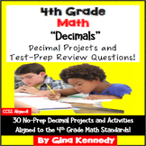 4th Grade Decimals, 30 Enrichment Projects and 30 Test-Pre