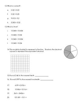 4th Grade Decimals Unit Review