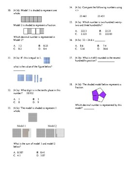 4th Grade Decimals Unit Test