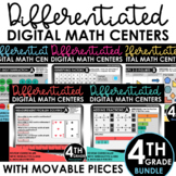 4th Grade Digital Math Centers Differentiated BUNDLE Distance Learning