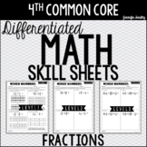 4th Grade Differentiated Math Skill Sheets {Fractions}