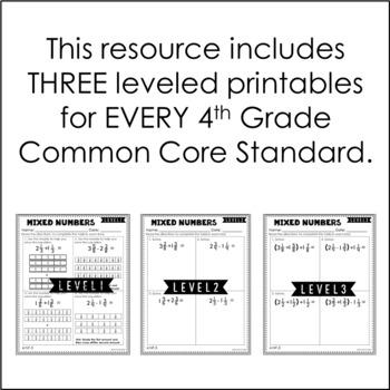 4th Grade Math | Differentiated Math Skill Sheets {Bundle}