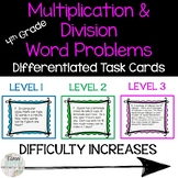 Multiplication and Division Multi-Step Word Problems - Differentiated Task Cards