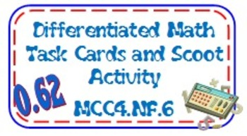 4th Grade Differentiated Task Cards/Scoot Activity Common Core Fractions 4NF6